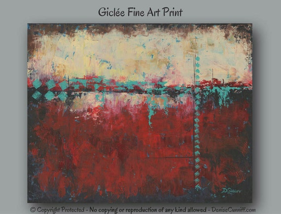 Red Turquoise Teal Aqua Abstract Art Print Red Black