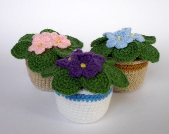 African violet crocheted flower in six colors (made to order)