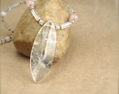 LAST CHANCE SALE! Quartz Pendant on Rose Quartz Moonstone Necklace - Love Romance Bridal Necklace Wedding Reiki Jewelery
