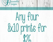 "Any Four 8x10"" Wall Art Prints by Decorable Designs"
