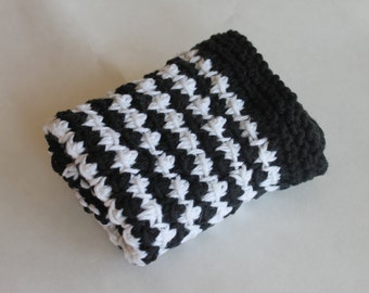 Hand Knit Dish Cloth, Wash Cloth, 100% Cotton, Textured Cleaning Cloth, Kitchen and Bath, Shower Gift, Stocking Stuffer (DC-002/Black/White)