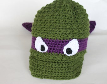 Crochet Ninja Turtle Newsboy Hat, Warm Ninja Turtle Costume Accessory, Adult Ninja Turtle Hat (CH-012/Purple/Teen (11-18 Yrs)/Adult Small)
