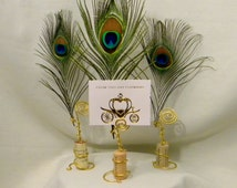Wedding-Upcycled Cork Place Card or Photo Display Holders Set of 6 Gold w/Peacock Feather