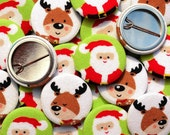 Pack of fabric Christmas Badges/ Pin Badges/ Pin back buttons, Santa & Reindeer design, for stocking fillers, crackers and party bags