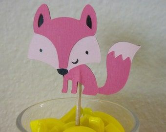 12 Fox cupcake toppers, Fox food picks,  cupcake toppers, pink fox toppers