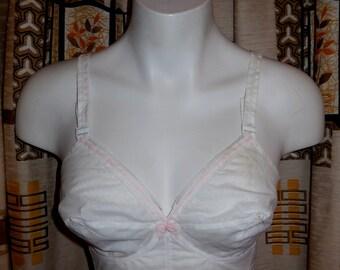 SALE Deadstock Vintage Bra 1950s Triumph Bra White Perlon Semisheer Nylon Pink Ribbon Unworn Pinup Rockabilly NWT NOS 34 B