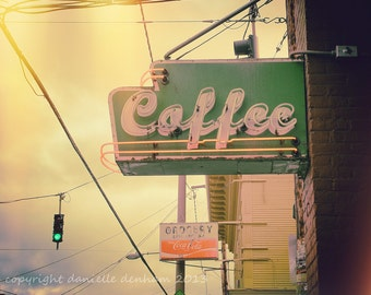 Coffee Photo Street Sign Portland Pastel--Fine Art Lomography 8x10