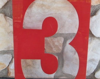 Large Vintage Red Plexiglass Gas Station Sign Number Three, 17 in. x 8 in.