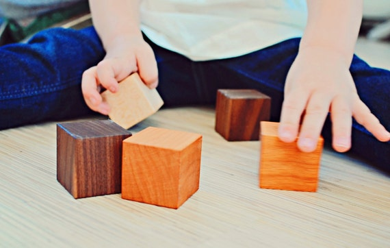 12 Wooden Building Blocks - Natural and organic wooden toys, building block sets for eco-friendly baby toddlers preschoolers