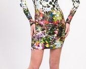 Viscose jersey polka dot and floral printed dress