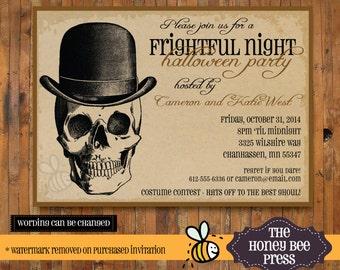 Halloween Invitation - Sppoky Mr. Skeleton Halloween Party Invitation Party invitation - Item H0025