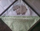 soft flannel baby blanket hand appliqued and embroidered custom color and applique