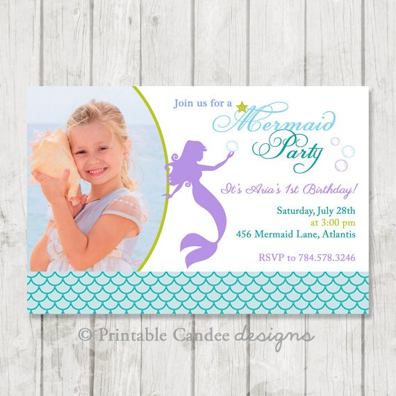 Mermaid Birthday Invitation - Mermaid Birthday - Nautical Girl Birthday - Under the Sea Birthday - Printable Mermaid Invitation