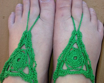 Sandals, Crochet Green Barefoot Sandals