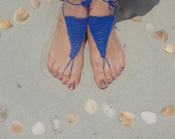 Sandals, Barefoot Sandals, Womens Royal Blue Crochet Barefoot Sandals Style 6