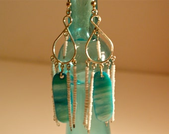Turquoise and White Beaded Dangly Chandelier Earrings