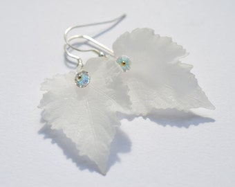 White Leaf Dangle Earrings, Vintage Lucite, Swarovski Crystal Dangle Earrings, Wedding Bridal Jewelry, Bridesmaids Gift