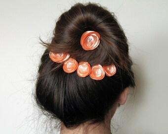 Peach Hair Clips, Bridal Hair Bobby Pins, Set of 6