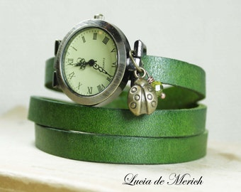 Wrap Watch -Black Friday- Ladybug for Lady -  genuine leather wrap watch, antique style, with little Ladybug charm
