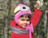 Minion Hat Girls, Crochet Minion Hat, Yellow and Pink, Kids hat - Baby, Toddlers, Childs