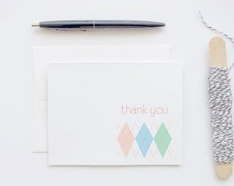 Thank You Card - Argyle Pattern Preppy Nerd Blank Greeting Notecard