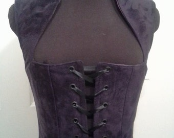 Dark Purple Plum Suede Renaissance Gothic Bodice Made for your BODY - Comic Con