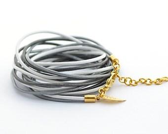 Gray Silver White Wrap Bracelet, Gray Silver White Wrap Bracelet, Wrap Around Bracelet, Minimalist Jewelry