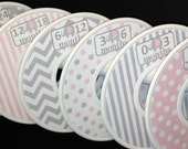 Custom Baby Closet Dividers Organizers Soft Baby Pink and Grey Elephants Dots Stripes Chevrons CD207 Baby Girl Nursery Shower Gift