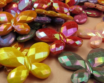 Seconds Beads - Acrylic AB Faceted Butterfly Acrylic Beads 30x23mm (12 pieces)