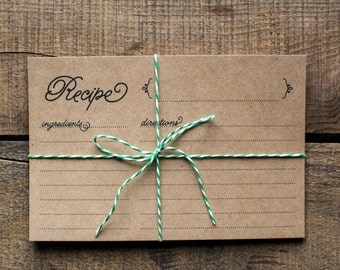 Charming Kraft Paper Recipe Cards
