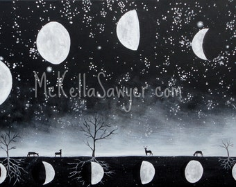 """9""""x18"""" Art Print-Phases of the Moon-Black and White-Space Art-Tree Art"""
