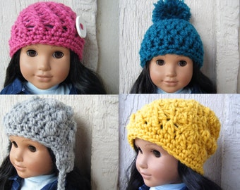 PATTERN: 4-pack Doll hats, Easy crochet pattern, PDF, American Girl Doll, stocking stuffer, InStAnt DiGiTaL DoWnLoAd, Permission to Sell