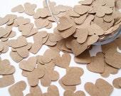 500 Brown Kraft Paper Confetti Hearts -  Wedding, Party, Favours, Vintage Rustic Heart Decor