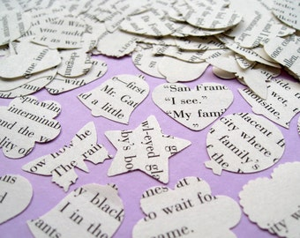 500 x 1 Inch The Great Gatsby Novel Book Confetti - Heart Bell Butterfly Circle Flower or Star - Wedding Vintage Table Decor