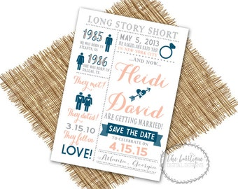 Our Love Story SAVE THE DATE {Long Story Short, Heres Our Story,Relationship Timeline}-Unique Save The Date-Digital Printable 5x7