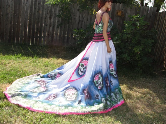 Extra Large Size 16 Hand Painted Sugar Skull Skeleton Wedding
