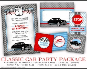 Classic Car Birthday Party - Printable Car Party - Car Invitations - Car Birthday Package - Antique Car Party - Printable Party Pacakage Car