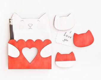 Dorm Decor Red Cat Fridge Magnet Set, Kitchen Organization, Cat Lover Gift, Mother Day Gift, Red Kitchen Accessories, Housewarming Gifts