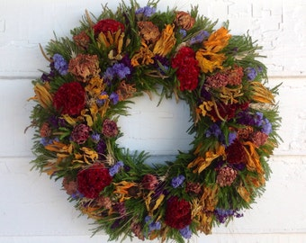 Colorful Dried Flower Spring Wreath