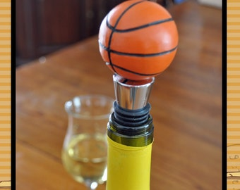 Wine bottle stopper - hand carved basketball