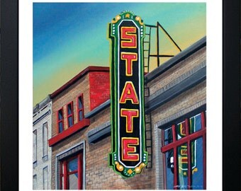 State Neon Sign Painting Digital Print