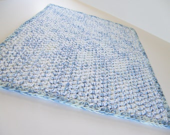 double thick bath mat in cotton handmade crocheted bath rug spa collection light denim