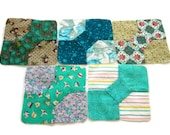 """5 Blue Green Hand Pieced Miniature Bowtie Quilt Blocks Made From 20th Century Vintage Fabrics, Finished Size 3 3/4""""(9.5cm), Free US Shipping"""