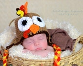 Crochet Turkey Hat, photography prop, crochet hat,