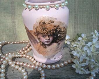 Shabby Pink Vase, Upcycled Angel Vase, Wedding Vase, Embellished Vase