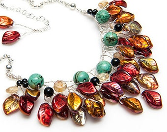 Fall Statement Necklace, Red Turquoise Southwest Jewelry, Nature Jewelry, Fashion Jewelry