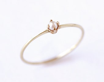 Gold Pearl Ring - Thin Gold Ring - 14 Solid Gold