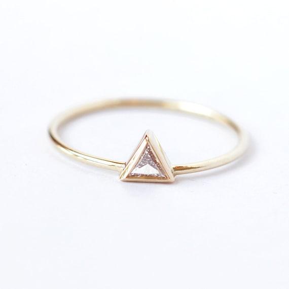 Diamond Engagement Ring, Triangle Diamond Ring, Trillion Diamond Ring, Simple Diamond Ring, Modern Engagement Ring, Gold Triangle Ring