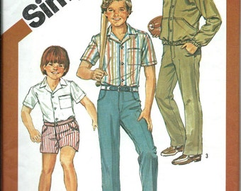 Boys Pants or Shorts, Shirt and Jacket Pattern, Simplicity 5957, Size 7 UNCUT