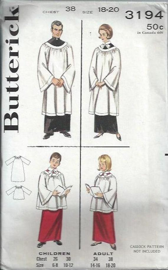 VTG Butterick 3194 Adult Choir Robes Pattern, Church Choir, Size 38, 18-20 UNCUT